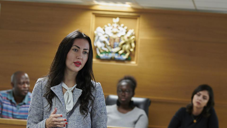 The mock courtroom at the University of West London