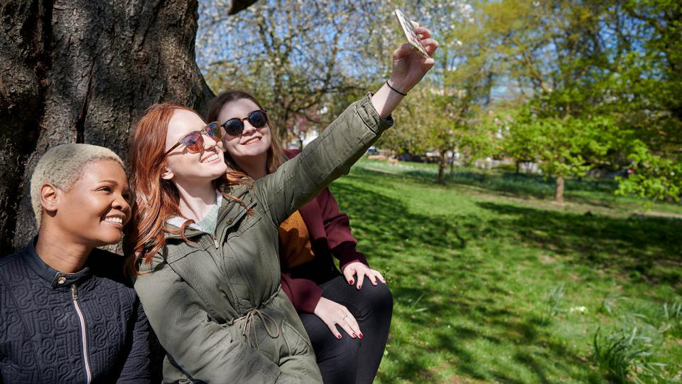 Three female students taking a selfie